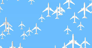 Civil air travel concept. 3D animation of passenger airliners flying across screen stock video
