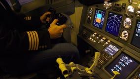 Civil aircraft cockpit. stock footage