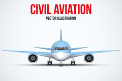 Civil Aircraft standing on the chassis Royalty Free Stock Photos