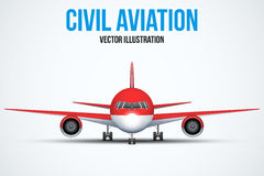 Civil Aircraft standing on the chassis Stock Photos