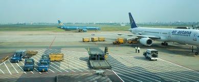 Civil aircrafts parking at Tan Son Nhat International airport Royalty Free Stock Photo