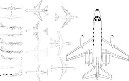 Civil airplane pack. High detailed vector pack of various modern civil airplane Royalty Free Stock Images