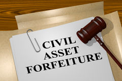 Civil Asset Forfeiture concept. 3D illustration of CIVIL ASSET FORFEITURE title on legal document Stock Photos