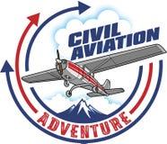 Civil Aviation label design, vector illustration stock illustration