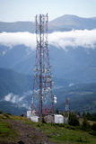 Civil communication antennas facility, Carpathian Mountains Royalty Free Stock Images