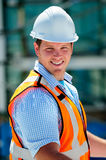 Civil Engineer. Young Handsome Male Civil Engineer, Checking The Blueprints royalty free stock image
