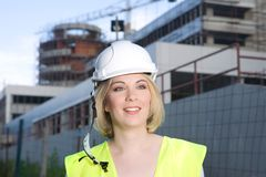 Civil engineer. Young architect or civil engineer at the constuction site royalty free stock photography