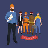 Civil engineer, architect and construction workers group of people Royalty Free Stock Images