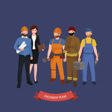 Civil engineer, architect and construction workers group. Workers people Royalty Free Stock Photography