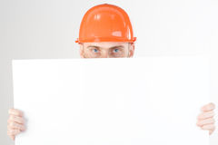 Civil engineer and blank sign Royalty Free Stock Photos