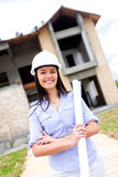 Civil engineer with blueprints Stock Image