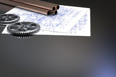 Civil engineer concept. With metal pipes and blueprint paper Royalty Free Stock Photos