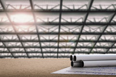 Civil engineer concept. With metal pipes and blueprint paper Royalty Free Stock Image