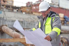 Civil Engineer At Consruction Site Stock Images