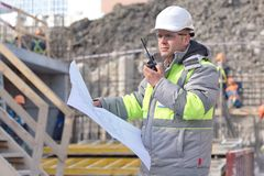 Civil Engineer At Consruction Site Stock Photography