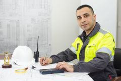Civil Engineer At Construction Office Stock Photos
