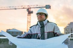 Civil Engineer At Construction Site Royalty Free Stock Images