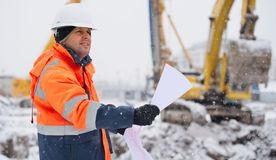 Civil Engineer At Construction Site Stock Image
