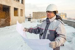 Civil Engineer At Construction Site In Winter Stock Photography