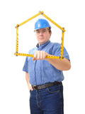 Civil engineer with folding rule Royalty Free Stock Image