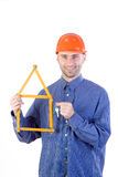 Civil engineer holding keys Royalty Free Stock Image