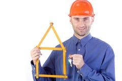 Civil engineer holding keys Royalty Free Stock Photography