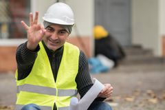 Civil engineer making ok sign Royalty Free Stock Image