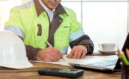 Civil Engineer making Structural Analysis Calculations Royalty Free Stock Photography