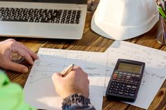 Civil Engineer making Structural Analysis Calculations Stock Image