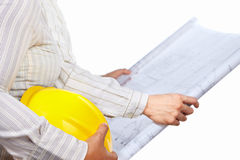 Civil engineer and partner. Body's part, isolated over white background Stock Image