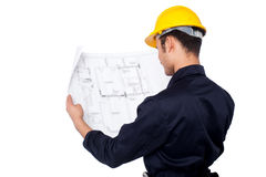 Civil engineer reviewing blueprint Royalty Free Stock Photography
