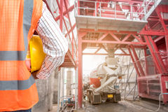Civil engineer working in building construction site Royalty Free Stock Photography