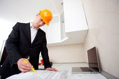 Civil engineer working with documents stock photography