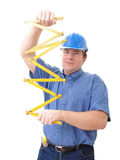 Civil engineer with yellow rule Stock Photo