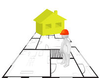 Civil engineering concept. 3D person, plan and house as civil engineering concept Stock Image
