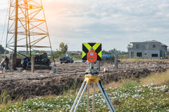 civil engineering and construction projects with survey equipmen Stock Photo