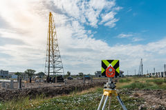 civil engineering and construction projects with survey equipmen Royalty Free Stock Images