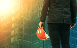 Civil engineering man working in construction site Stock Photo