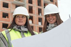 Civil Engineers At Consruction Site Royalty Free Stock Photo