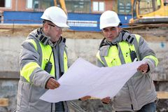Civil Engineers At Consruction Site Stock Images