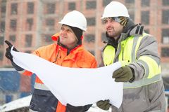 Civil engineers at construction site Royalty Free Stock Photography