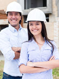 Civil engineers smiling Stock Photos