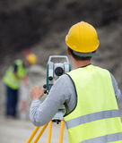 Civil engineers with theodolite Royalty Free Stock Photo