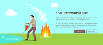 Civil Extinguish Fire Poster with Text Vector. Civil extinguish fire poster with text. Vector illustration of man wearing cotton masks trying to put out flame Stock Photos