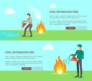 Civil Extinguish Fire Set of Posters with Text. Vector illustration of men wearing cotton masks trying to put out flame with help of water Stock Image