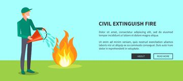 Drawing of Civilian Trying to Extinguish Fire. Civil extinguish fire vector illustration of man extinguishing wildfire that engulfed some area of green grass Royalty Free Stock Photo