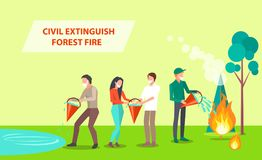 Civil Extinguish Forest Fire Illustration. Civil Extinguish Forest Fire. Vector illustration of people with dust masks cooperating in order to put out burning royalty free illustration