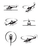 Civil helicopters in perspective. Vector illustration Stock Image