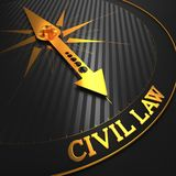 Civil Law. Business Background. Civil Law - Business Background. Golden Compass Needle on a Black Field Pointing to the Word Civil Law. 3D Render royalty free illustration