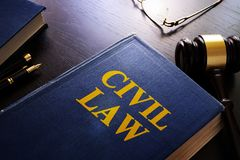 Civil law and gavel. Civil law and gavel in a courtroom Royalty Free Stock Images